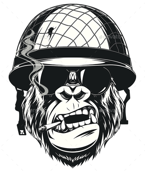 Monkey Soldier with a Cigarette - Animals Characters