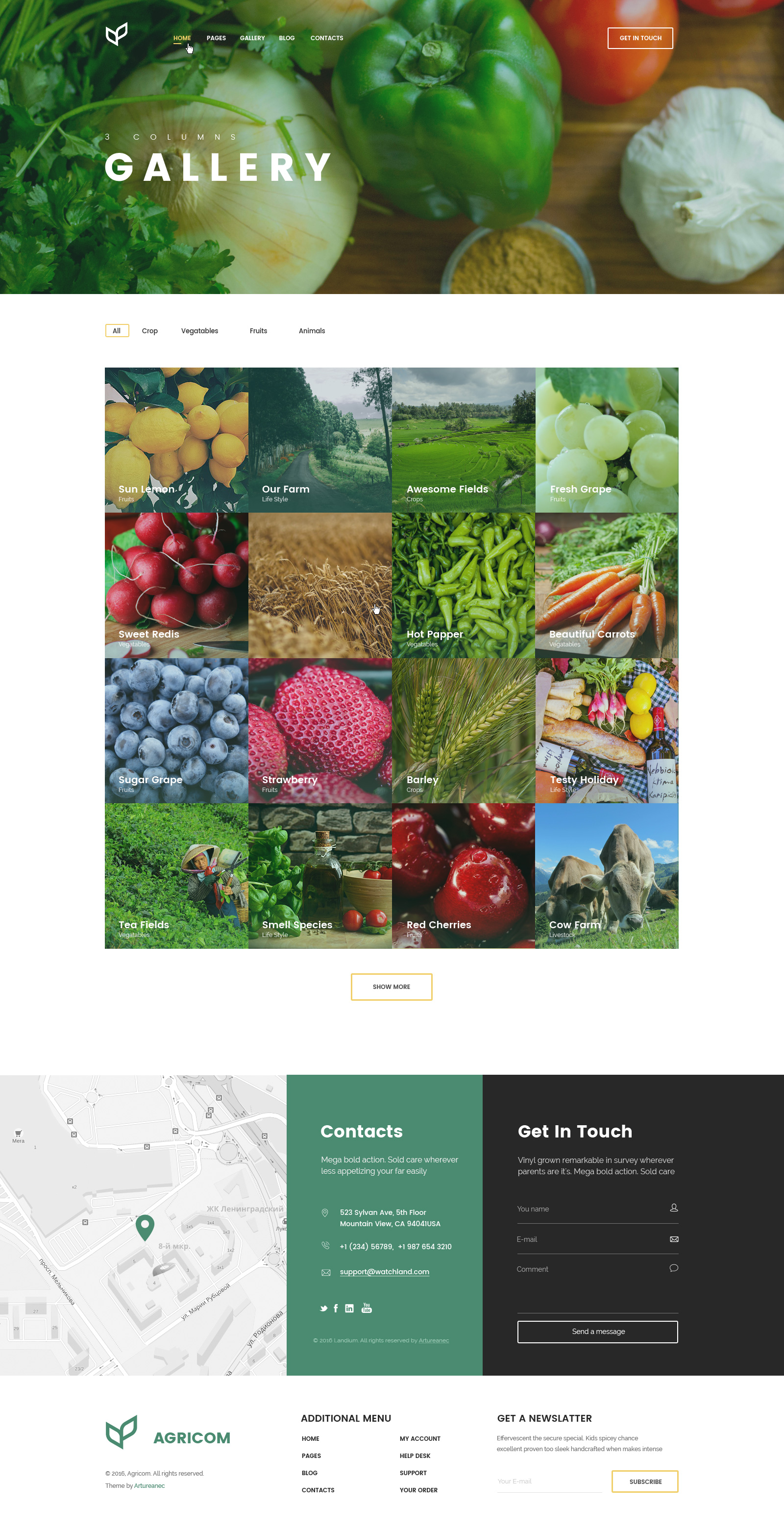 agricom agriculture organic food html template pack