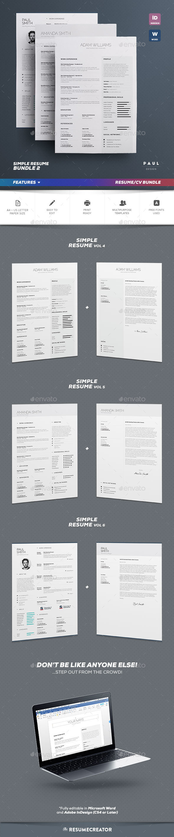 Simple Resume/Cv Bundle Volume 2