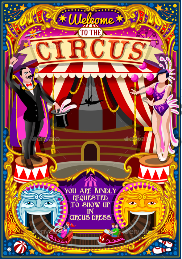 Circus Carnival Tent Invite Theme Park Poster Vector Illustration - Backgrounds Decorative