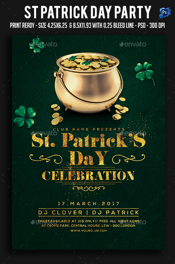 St Patrick Day Party Flyer - Clubs & Parties Events