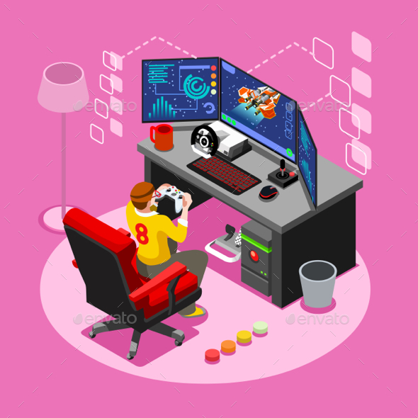 Computer Video Game Isometric Gaming People Vector Illustration - Computers Technology
