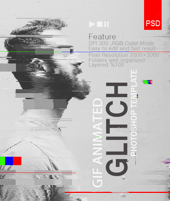 Gif animated glitch photoshop templates by safisakran graphicriver gif animated glitch photoshop templates photo templates graphics maxwellsz
