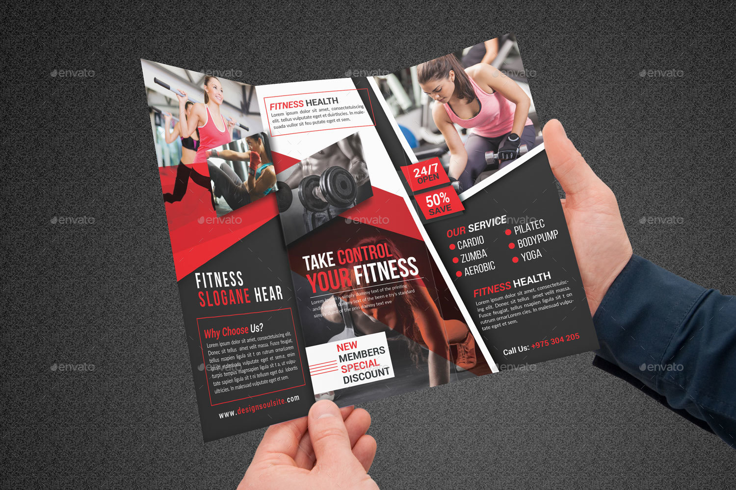Fitness Tri-Fold Brochure by designsoul14 | GraphicRiver