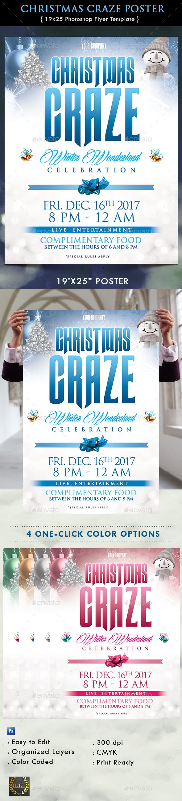 Christmas Craze Poster - Flyers Print Templates