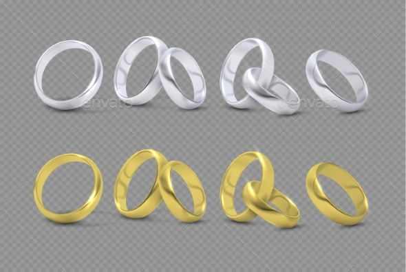 Vector Luxury Silver and Gold Wedding, Marriage - Man-made Objects Objects