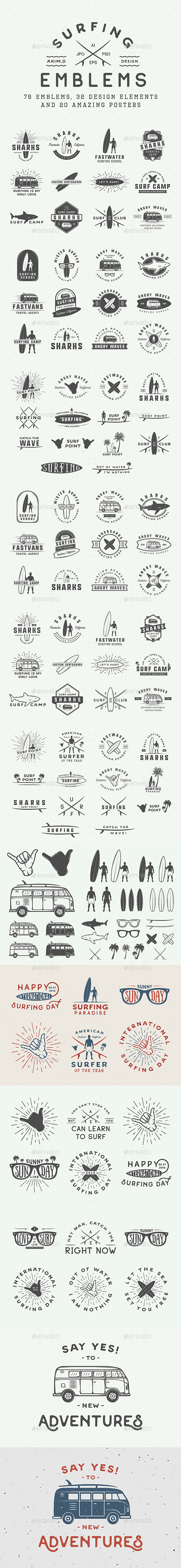 Vintage Surfing Emblems - Badges & Stickers Web Elements