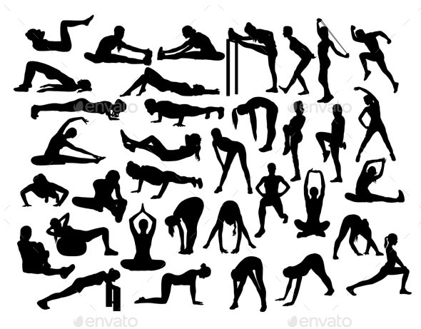 Stretching Sport Activity Silhouettes - Sports/Activity Conceptual