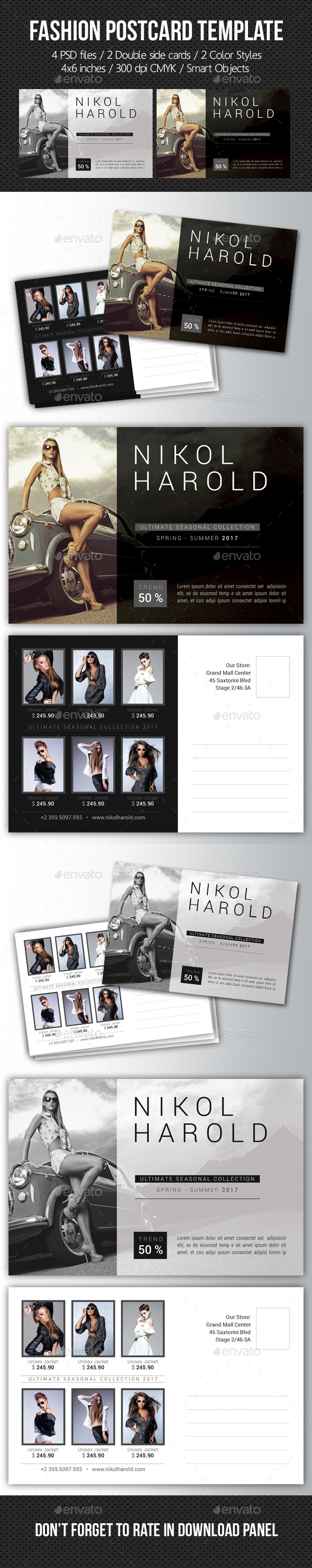 Fashion Postcard Template - Cards & Invites Print Templates