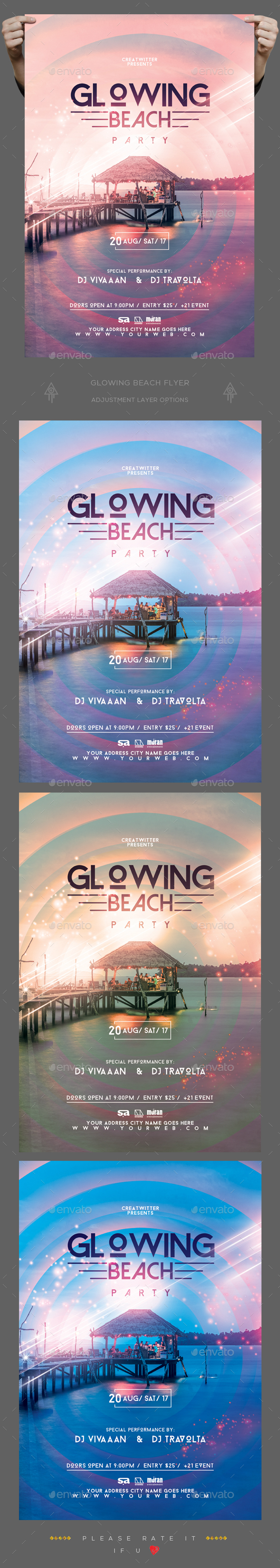 Glowing Beach Flyer - Clubs & Parties Events