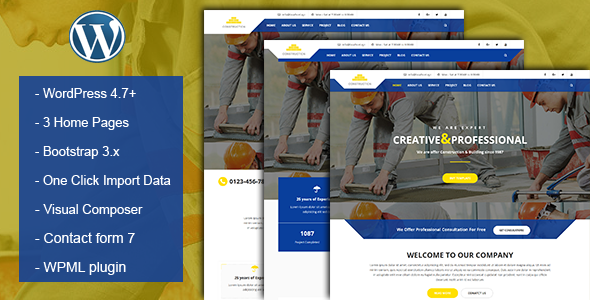 Construction & Building Business WordPress Theme - Corporate WordPress