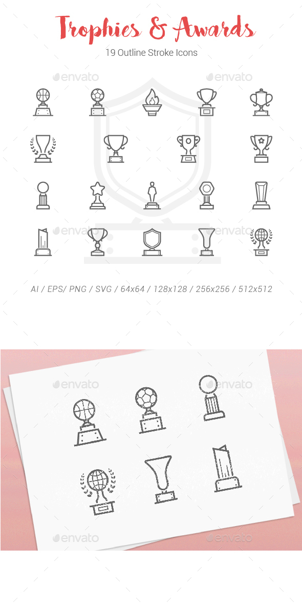19 Trophy Award Outline Stroke Icons - Objects Icons