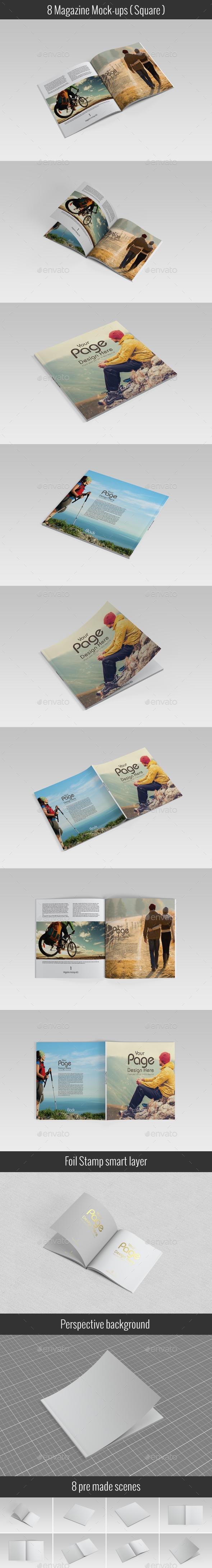 Square Catalog / Magazine Mock-Up - Magazines Print