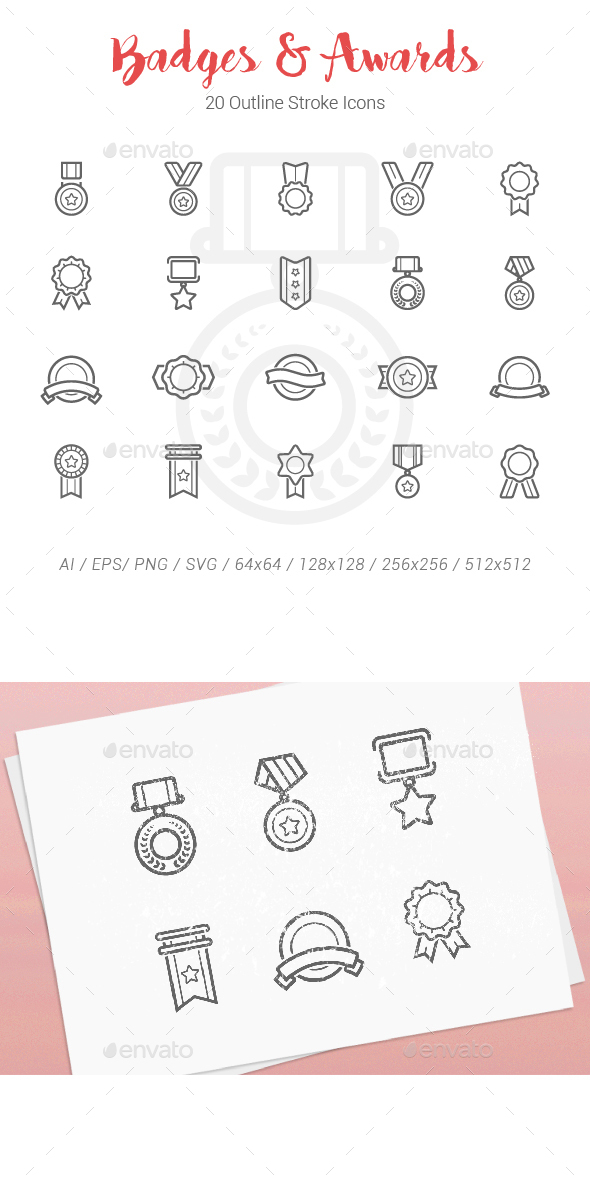 20 Badges Award Outline Stroke Icons - Objects Icons