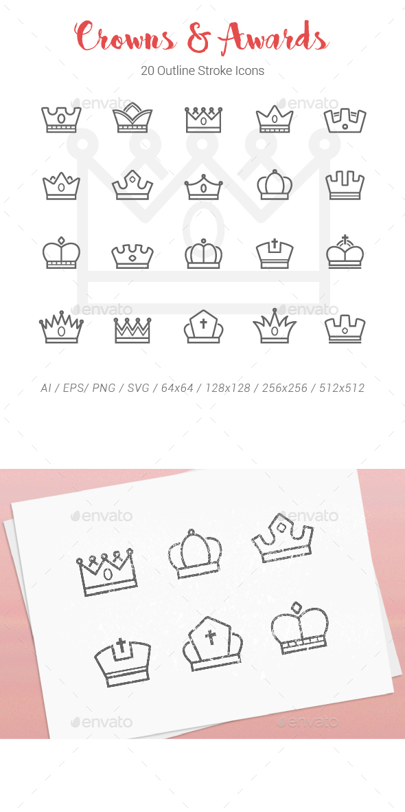 20 Crowns Award Outline Stroke Icons - Objects Icons
