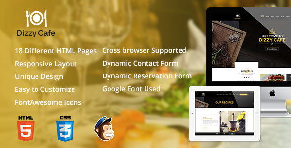 Dizzy Cafe – Responsive Restaurant/Cafe Site Template