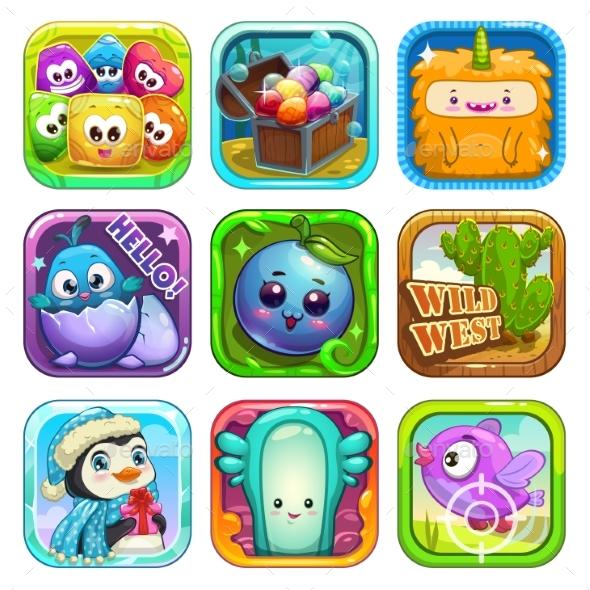 Funny App Icons Set. - Miscellaneous Conceptual