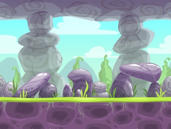 Cartoon Fantasy Seamless Landscape - Landscapes Nature