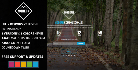MODERN Coming Soon HTML Template V3 - Under Construction Specialty Pages