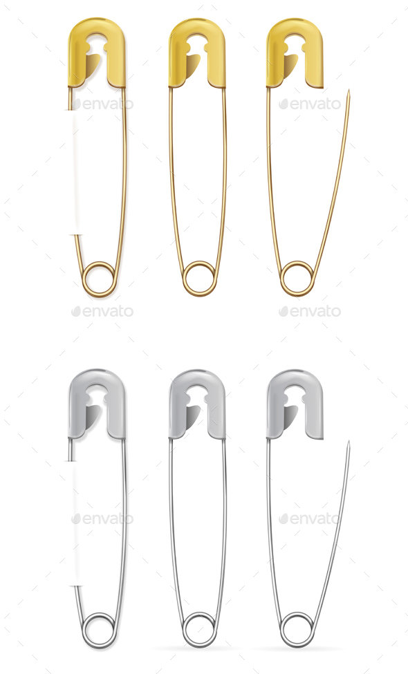 Safety Pin Set. Vector - Objects Vectors