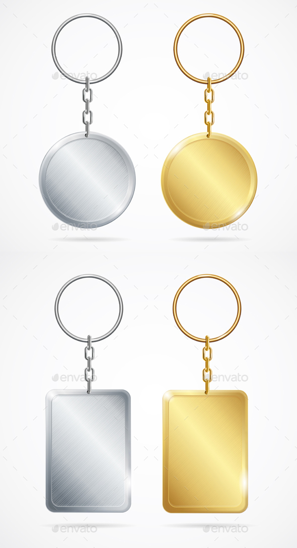 Realistic Metal Keychains Set. Vector - Objects Vectors