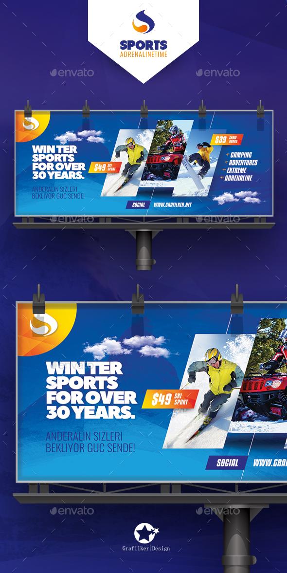 Winter Adventure Billboard Templates - Signage Print Templates