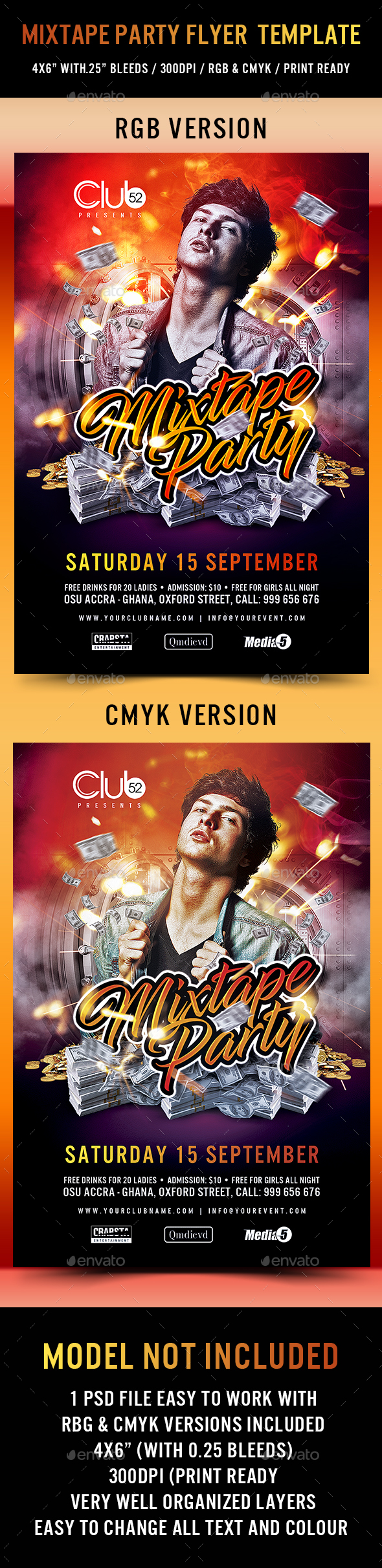 Mixtape Party Flyer Template - Clubs & Parties Events