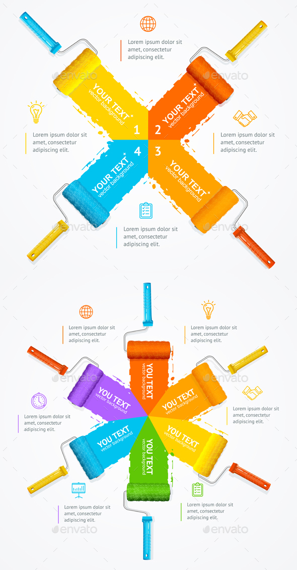 Roller Brush Infographic Menu. Vector - Business Conceptual