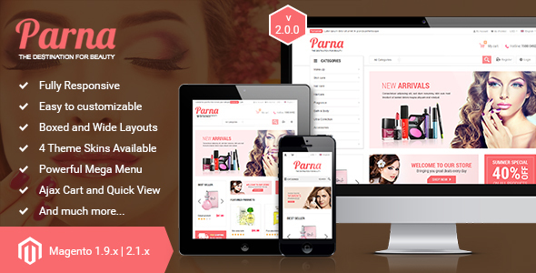 Parna - Responsive Multi-purpose Magento 1 and 2 Theme - Fashion Magento
