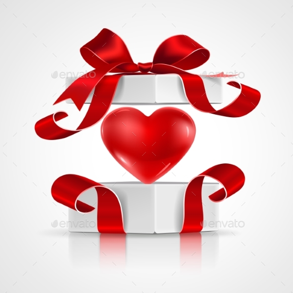Open Gift with Heart - Valentines Seasons/Holidays