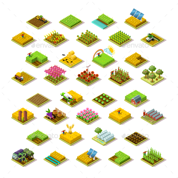 Isometric Farm 3D Building Icon Collection Vector Illustration - Vectors