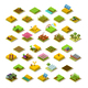 Isometric Farm 3D Building Icon Collection Vector Illustration - GraphicRiver Item for Sale