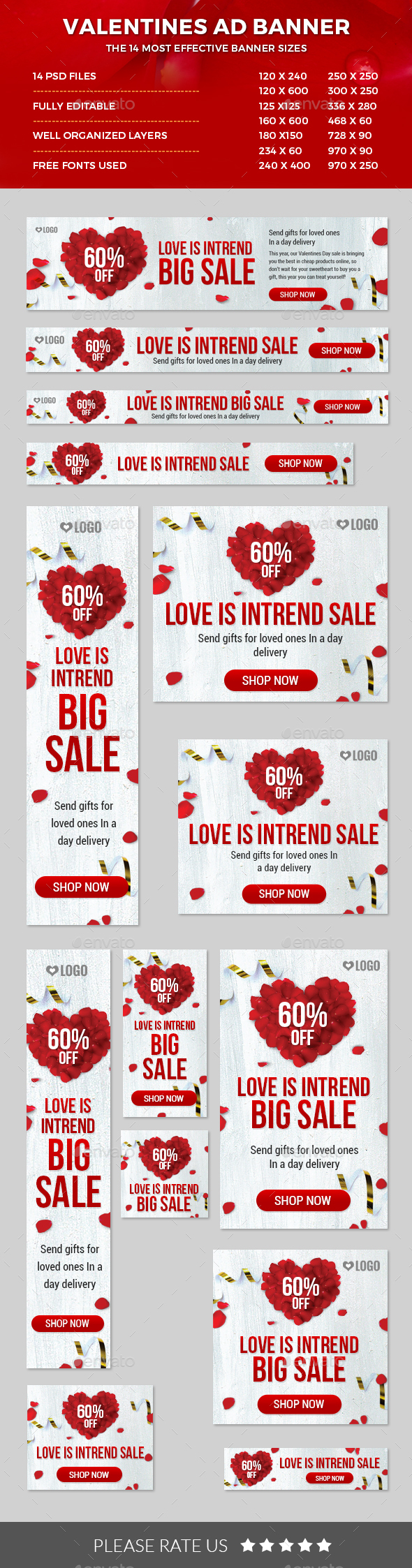Valentines Ad Banners - Banners & Ads Web Elements