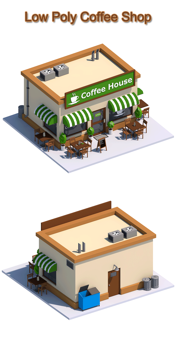 Low Poly Coffee House - 3DOcean Item for Sale