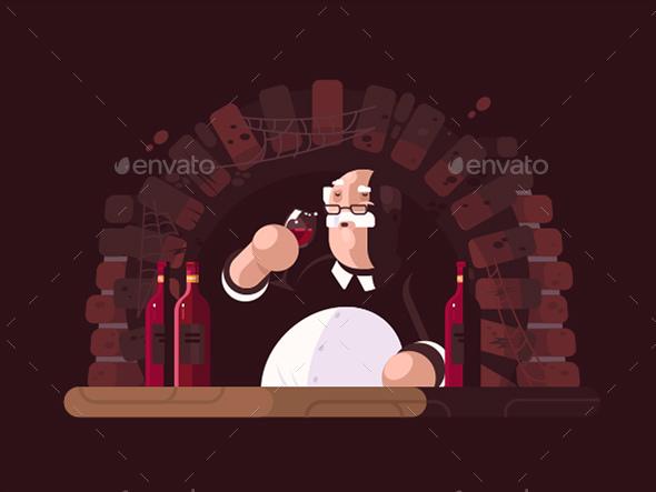Sommelier Tasting Wine - People Characters