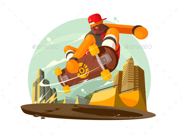 Guy Riding Skateboard in City - People Characters