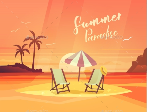 Sand Coast or Beach with Deck Chair and Umbrella - Travel Conceptual