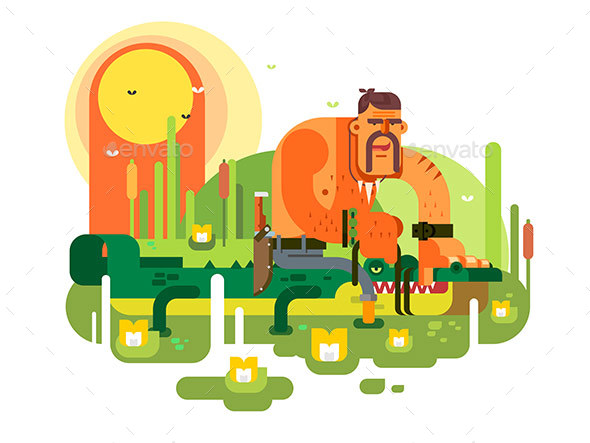 Crocodile Hunter Character - Characters Vectors