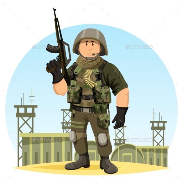 Soldier in American Uniform at War Base or Camp - Weddings Seasons/Holidays