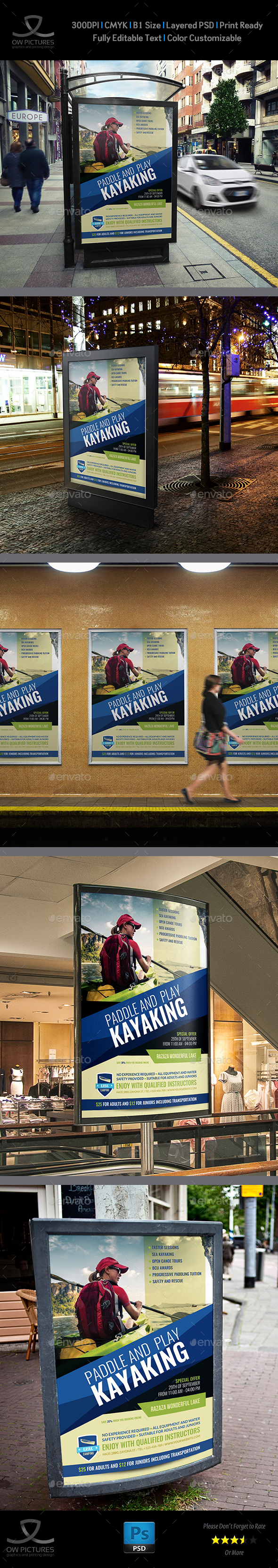 Kayaking Poster Template - Signage Print Templates