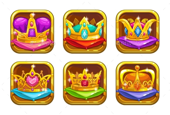 Cool Game Icons with Golden Rare Crowns - Objects Vectors