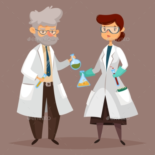 Chemist Man, Scientist Woman with Chemical Items - People Characters