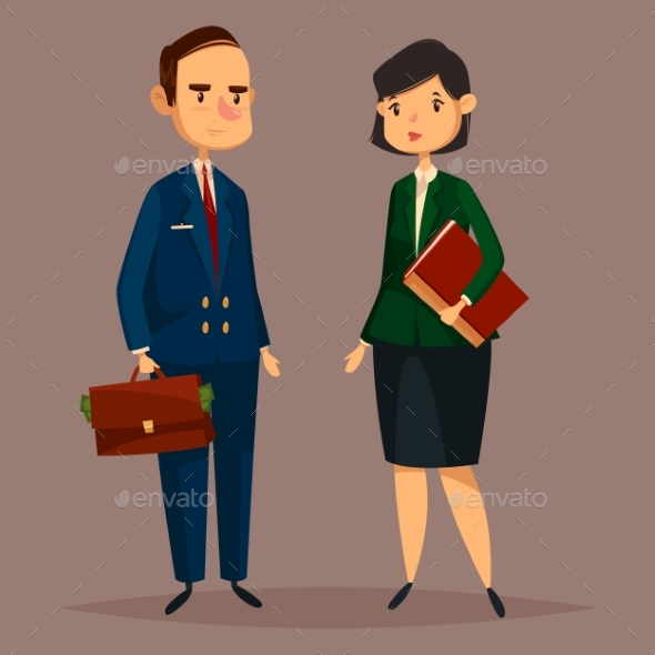 Bank Worker in Suit and Banker Woman with Papers - Concepts Business