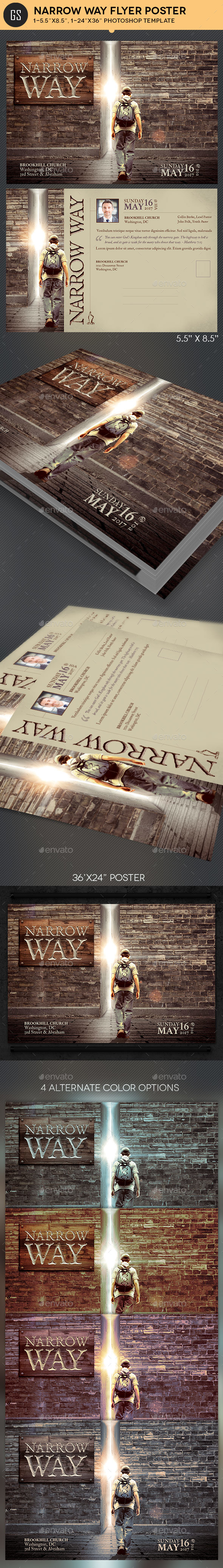 Narrow Way Flyer Poster Template - Church Flyers