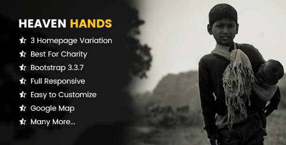 Heaven Hands- Responsive Charity & Fundraising HTML5 Template