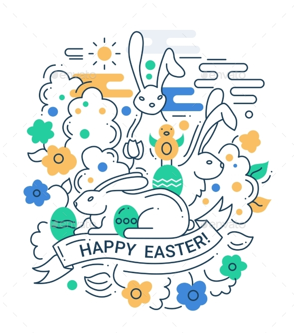 Easter Line Design Illustration - Miscellaneous Seasons/Holidays