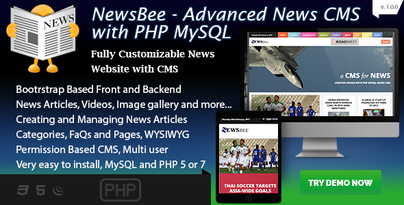Download NewsBee - Fully Featured News CMS with bootstrasp - PHP / MySQL nulled version