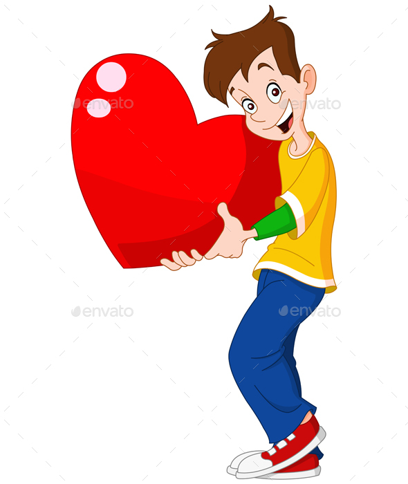 Teenager Holding Heart Valentine - Valentines Seasons/Holidays