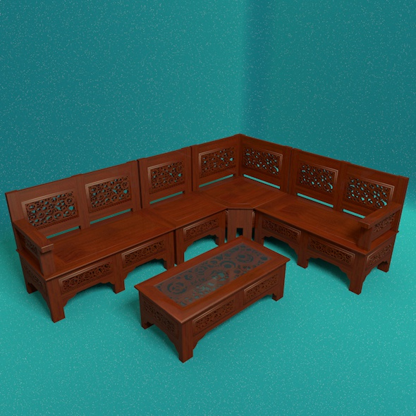 Wooden Corner Seat - 3DOcean Item for Sale
