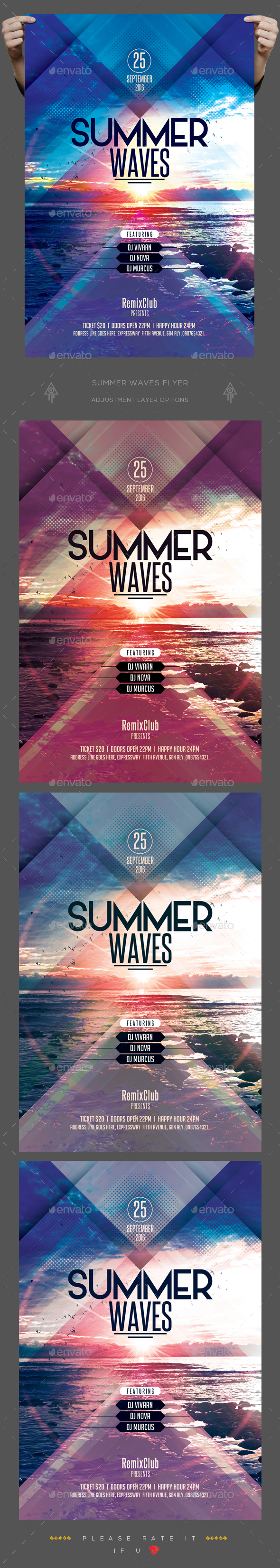 Summer Wave Flyer - Clubs & Parties Events